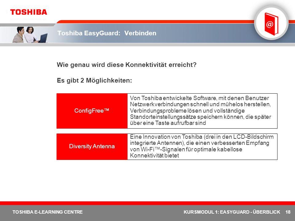 18 TOSHIBA E-LEARNING CENTREKURSMODUL 1: EASYGUARD - ÜBERBLICK Toshiba EasyGuard: Verbinden Wie genau wird diese Konnektivität erreicht? Es gibt 2 Mög
