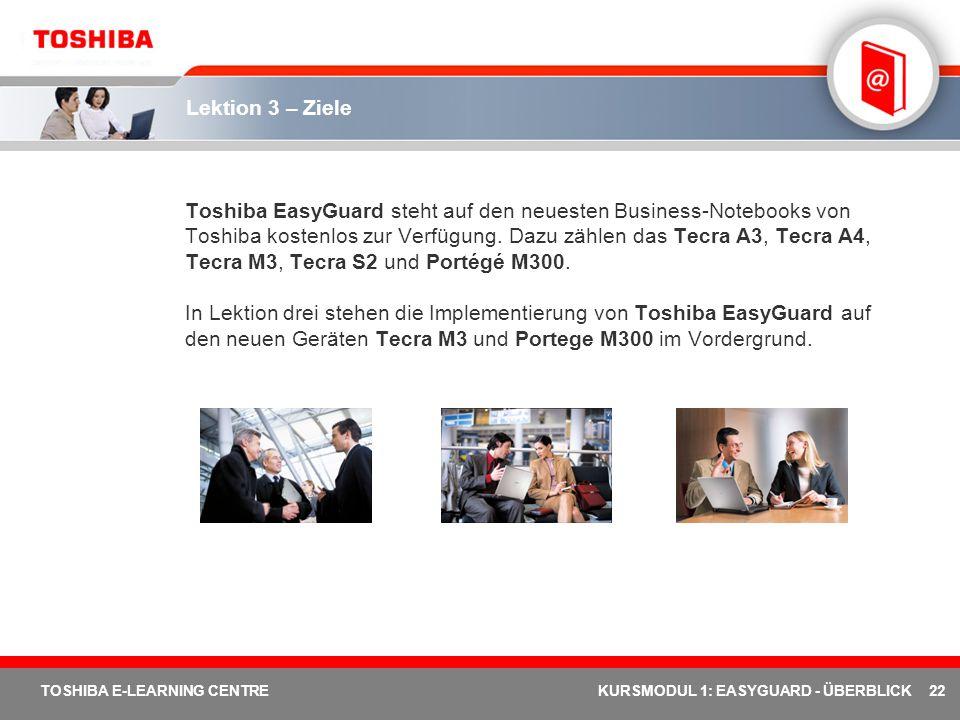 22 TOSHIBA E-LEARNING CENTREKURSMODUL 1: EASYGUARD - ÜBERBLICK Lektion 3 – Ziele Toshiba EasyGuard steht auf den neuesten Business-Notebooks von Toshi
