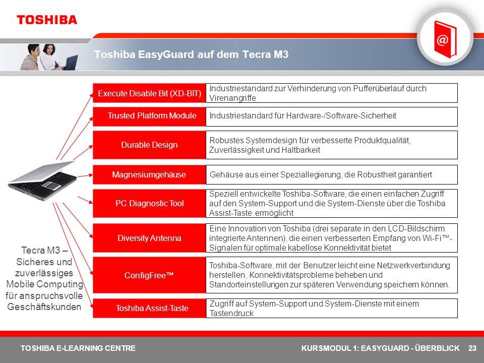 23 TOSHIBA E-LEARNING CENTREKURSMODUL 1: EASYGUARD - ÜBERBLICK Toshiba EasyGuard auf dem Tecra M3 Execute Disable Bit (XD-BIT) Trusted Platform Module