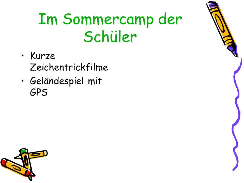 Im Sommercamp der Schüler Kurze Zeichentrickfilme Geländespiel mit GPS