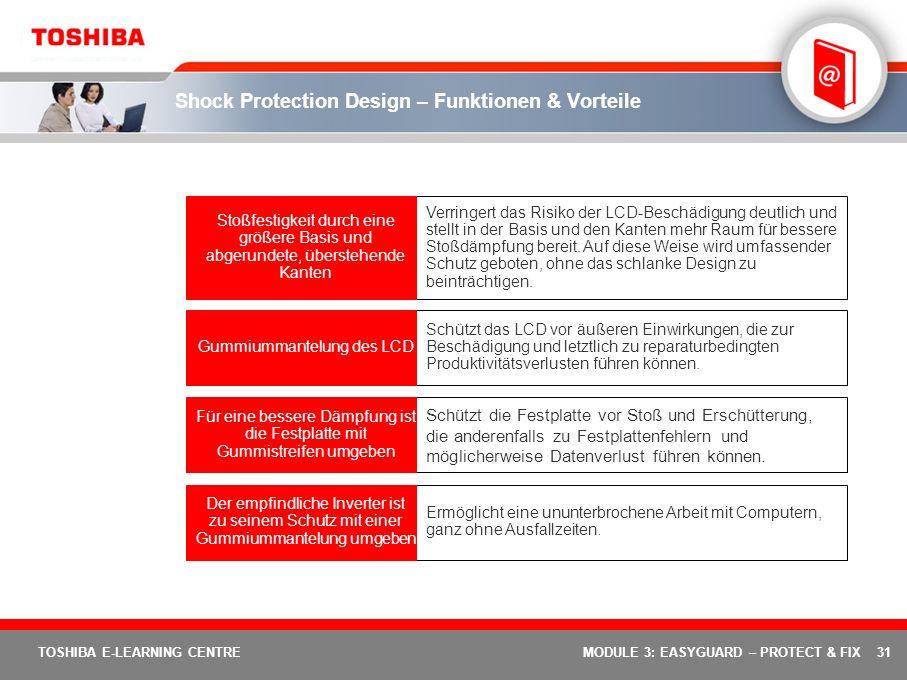 31 TOSHIBA E-LEARNING CENTREMODULE 3: EASYGUARD – PROTECT & FIX Shock Protection Design – Funktionen & Vorteile Ermöglicht eine ununterbrochene Arbeit
