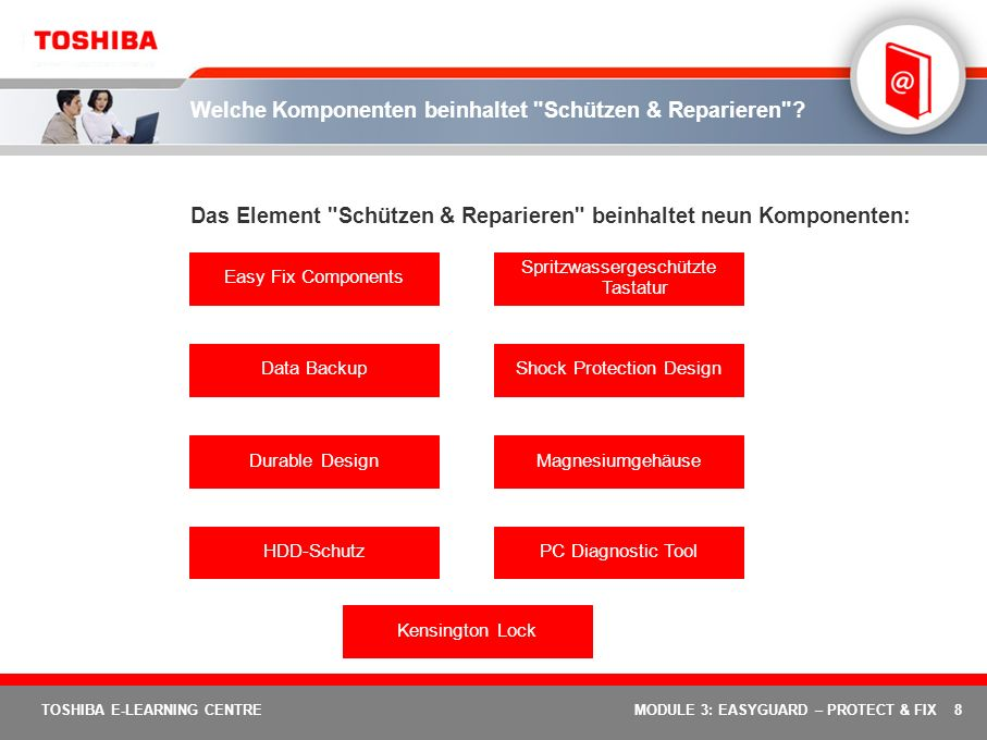 29 TOSHIBA E-LEARNING CENTREMODULE 3: EASYGUARD – PROTECT & FIX Toshiba Shock Protection Design – Wie funktioniert das.