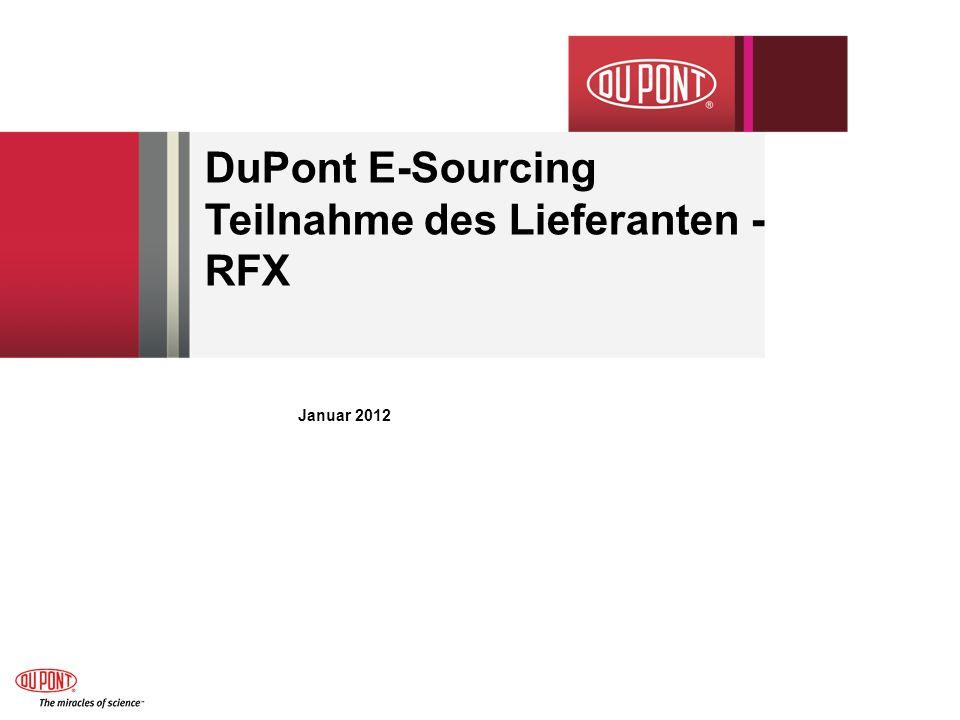 DuPont E-Sourcing Teilnahme des Lieferanten - RFX Januar 2012
