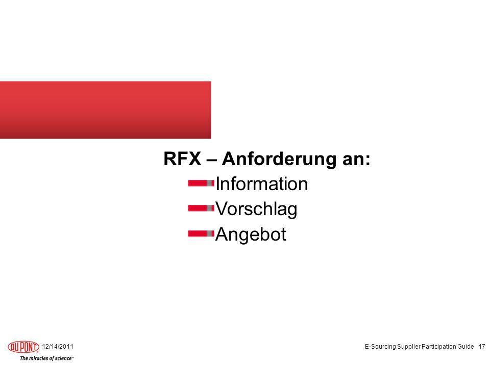 RFX – Anforderung an: Information Vorschlag Angebot 12/14/2011 E-Sourcing Supplier Participation Guide 17