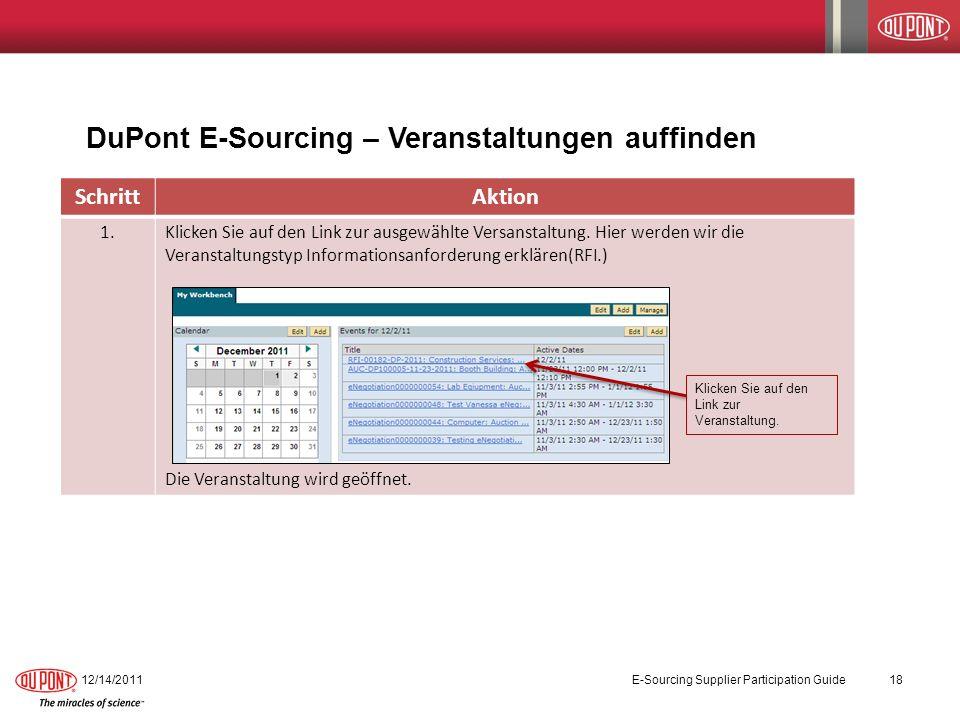 12/14/201118 E-Sourcing Supplier Participation Guide DuPont E-Sourcing – Veranstaltungen auffinden SchrittAktion 1.Klicken Sie auf den Link zur ausgew