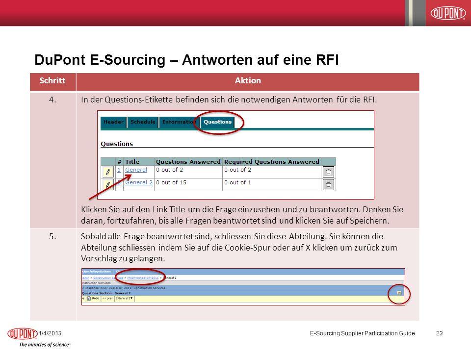 DuPont E-Sourcing – Antworten auf eine RFI SchrittAktion 4.In der Questions-Etikette befinden sich die notwendigen Antworten für die RFI. Klicken Sie
