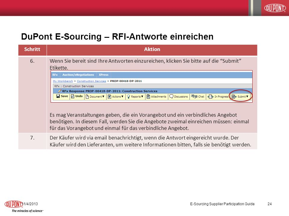 DuPont E-Sourcing – RFI-Antworte einreichen 11/4/2013E-Sourcing Supplier Participation Guide24 SchrittAktion 6.Wenn Sie bereit sind Ihre Antworten ein