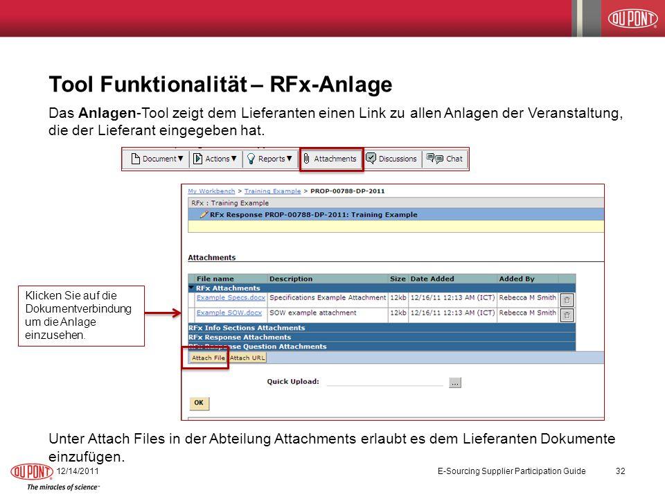 Tool Funktionalität – RFx-Anlage Das Anlagen-Tool zeigt dem Lieferanten einen Link zu allen Anlagen der Veranstaltung, die der Lieferant eingegeben ha