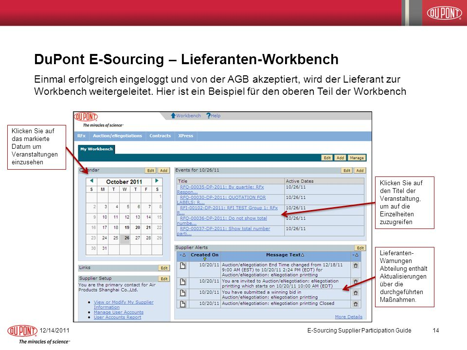 DuPont E-Sourcing – Lieferanten-Workbench 12/14/2011 E-Sourcing Supplier Participation Guide 14 Einmal erfolgreich eingeloggt und von der AGB akzeptie
