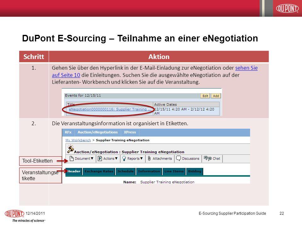 DuPont E-Sourcing – Teilnahme an einer eNegotiation 12/14/2011E-Sourcing Supplier Participation Guide22 SchrittAktion 1.Gehen Sie über den Hyperlink in der E-Mail-Einladung zur eNegotiation oder sehen Sie auf Seite 10 die Einleitungen.