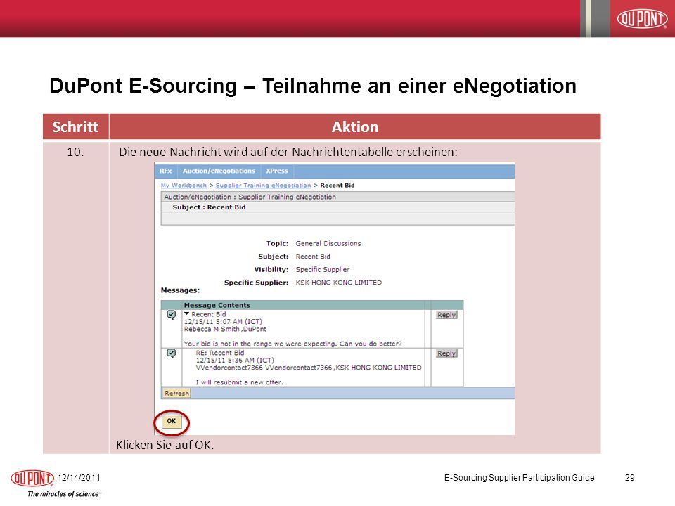 DuPont E-Sourcing – Teilnahme an einer eNegotiation 12/14/2011E-Sourcing Supplier Participation Guide29 SchrittAktion 10.