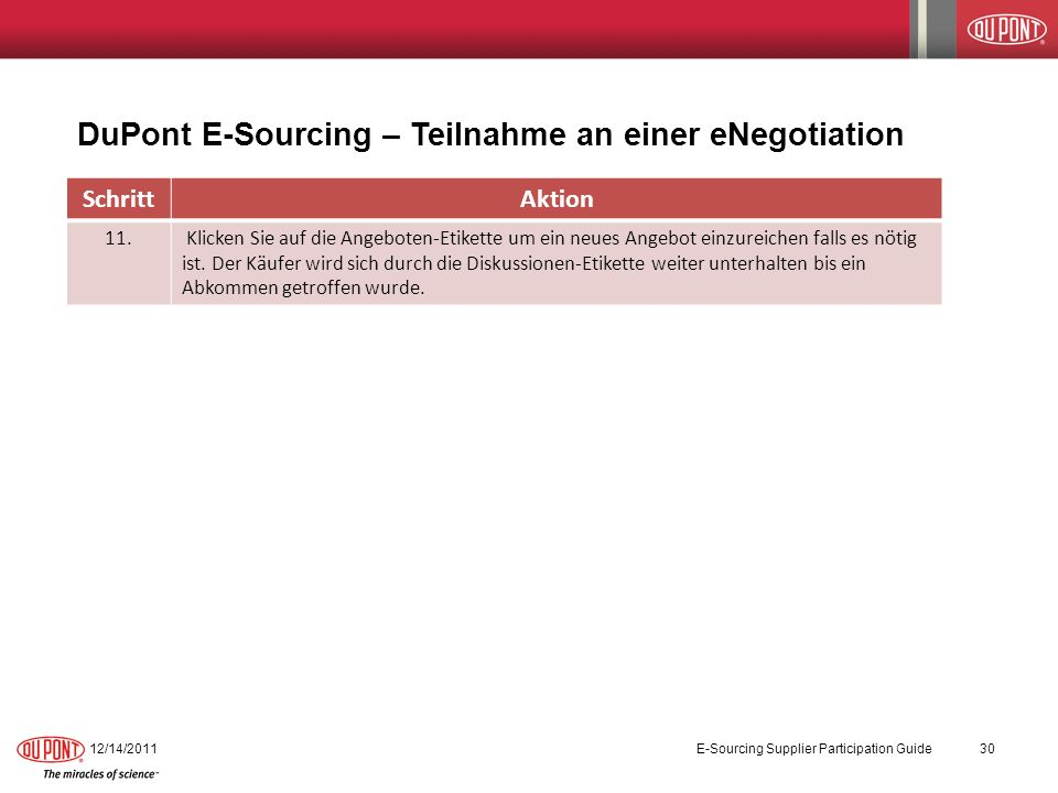 DuPont E-Sourcing – Teilnahme an einer eNegotiation 12/14/2011E-Sourcing Supplier Participation Guide30 SchrittAktion 11.
