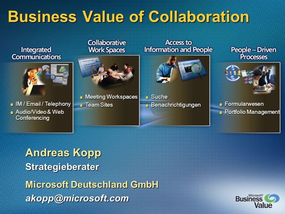 Business Value of Collaboration Andreas Kopp Strategieberater Microsoft Deutschland GmbH akopp@microsoft.com IM / Email / Telephony Audio/Video & Web