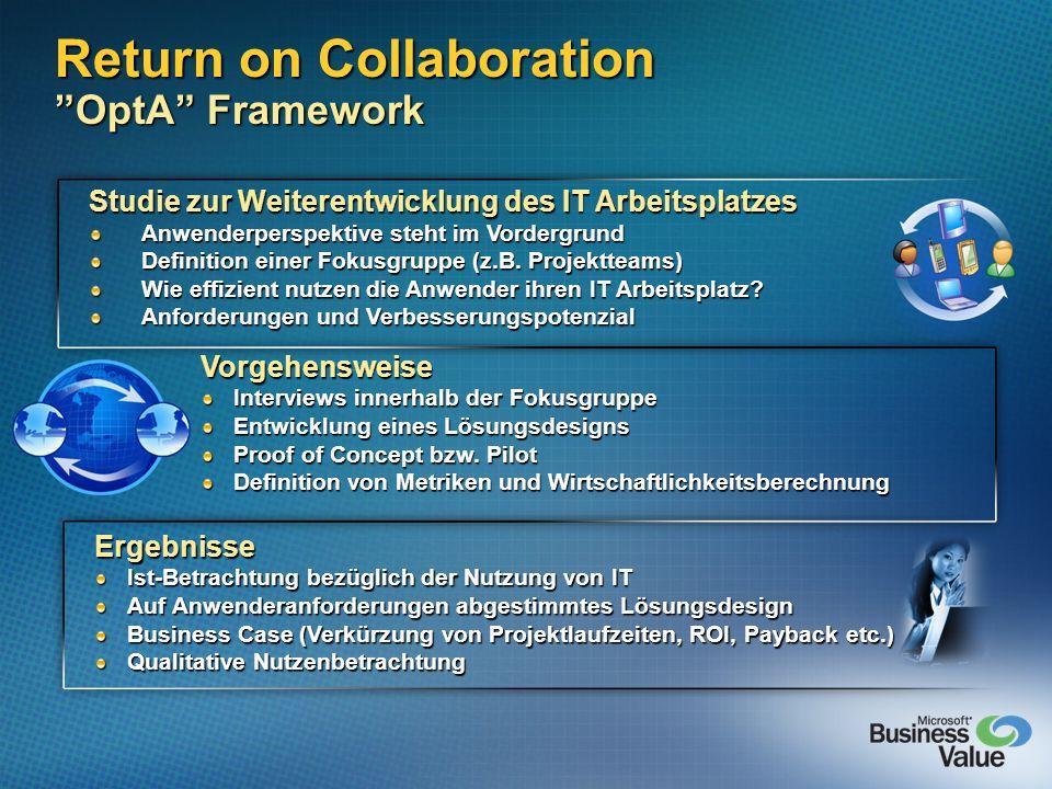 Return on Collaboration OptA Framework Studie zur Weiterentwicklung des IT Arbeitsplatzes Anwenderperspektive steht im Vordergrund Definition einer Fo