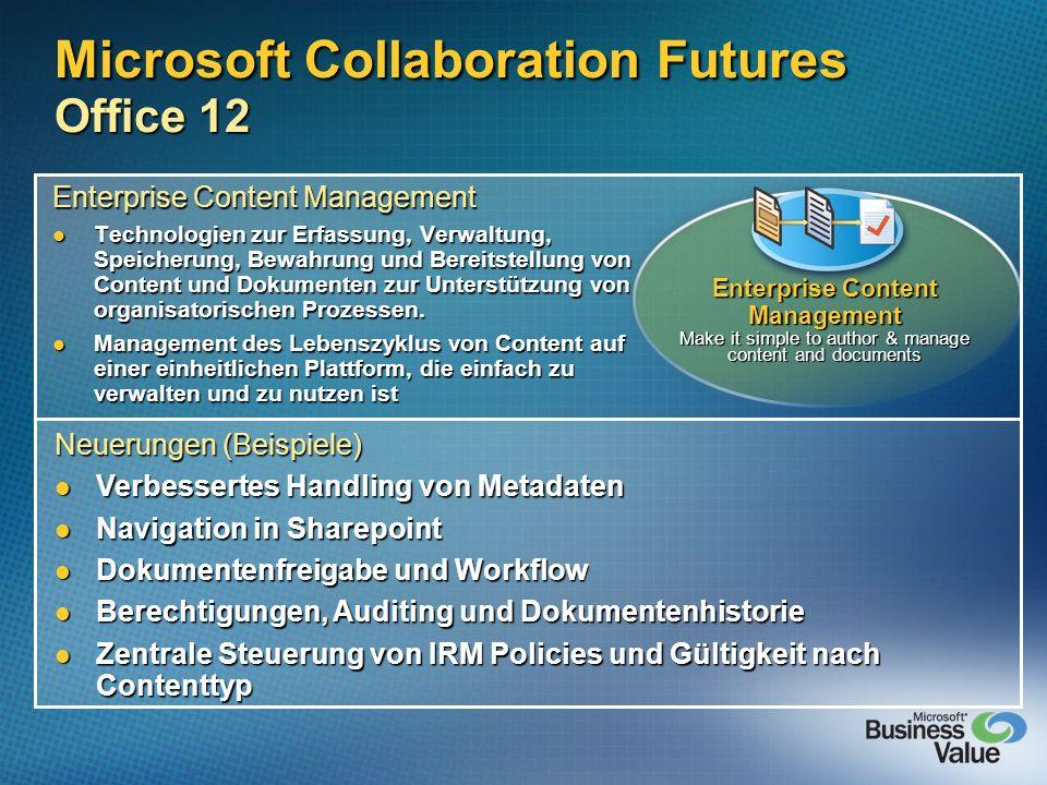 Microsoft Collaboration Futures Office 12 Enterprise Content Management Technologien zur Erfassung, Verwaltung, Speicherung, Bewahrung und Bereitstell