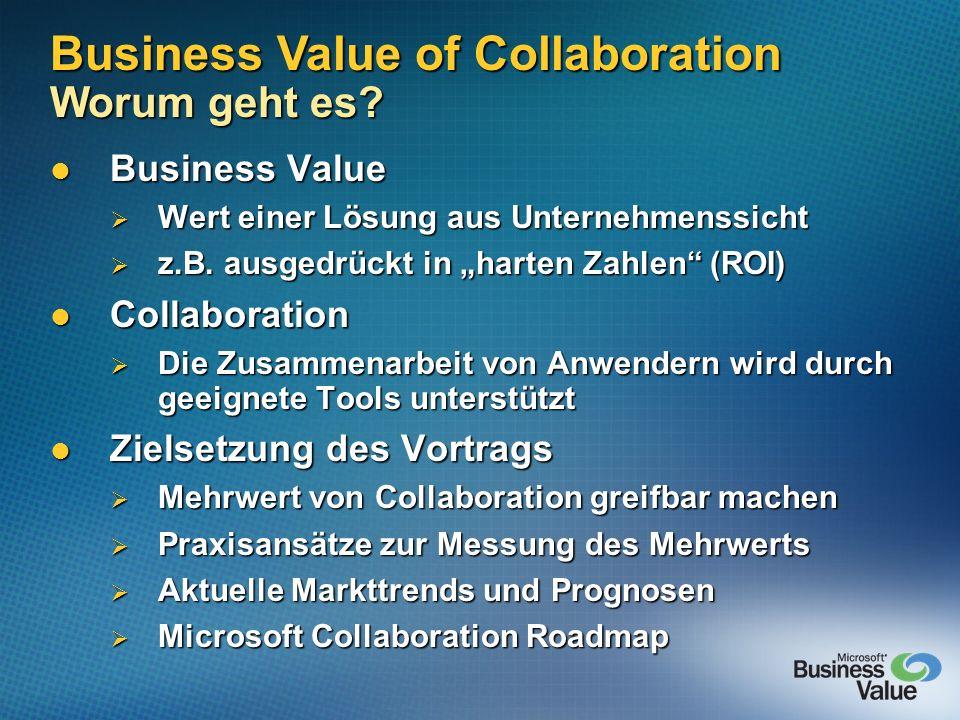 Business Value Business Value Wert einer Lösung aus Unternehmenssicht Wert einer Lösung aus Unternehmenssicht z.B. ausgedrückt in harten Zahlen (ROI)