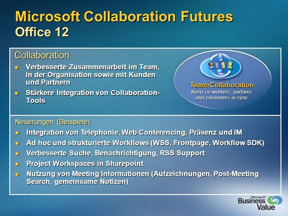 Microsoft Collaboration Futures Office 12 Collaboration Verbesserte Zusammenarbeit im Team, in der Organisation sowie mit Kunden und Partnern Verbesse
