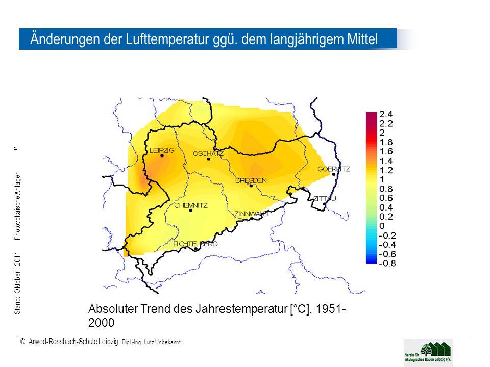 Stand: Oktober 2011 Photovoltaische Anlagen 15 © Arwed-Rossbach-Schule Leipzig Dipl.-Ing. Lutz Unbekannt 15 Änderungen der Lufttemperatur ggü. dem lan