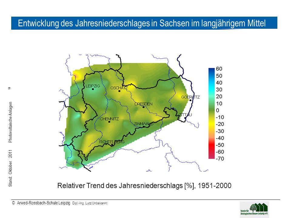 Stand: Oktober 2011 Photovoltaische Anlagen 18 © Arwed-Rossbach-Schule Leipzig Dipl.-Ing. Lutz Unbekannt 18 Entwicklung des Jahresniederschlages in Sa