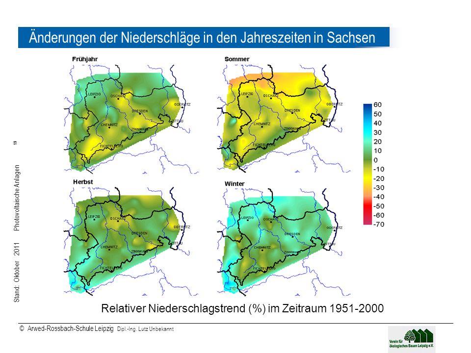 Stand: Oktober 2011 Photovoltaische Anlagen 19 © Arwed-Rossbach-Schule Leipzig Dipl.-Ing. Lutz Unbekannt 19 Änderungen der Niederschläge in den Jahres