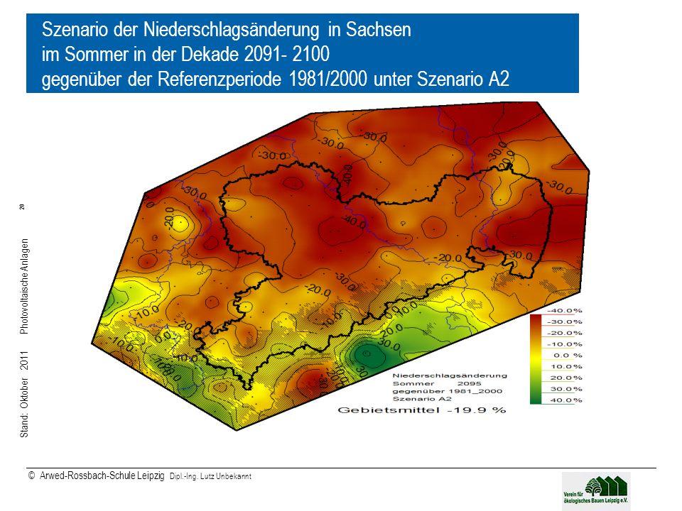 Stand: Oktober 2011 Photovoltaische Anlagen 20 © Arwed-Rossbach-Schule Leipzig Dipl.-Ing. Lutz Unbekannt 20 Szenario der Niederschlagsänderung in Sach