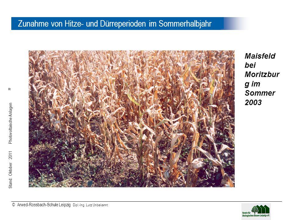 Stand: Oktober 2011 Photovoltaische Anlagen 22 © Arwed-Rossbach-Schule Leipzig Dipl.-Ing. Lutz Unbekannt 22 Zunahme von Hitze- und Dürreperioden im So