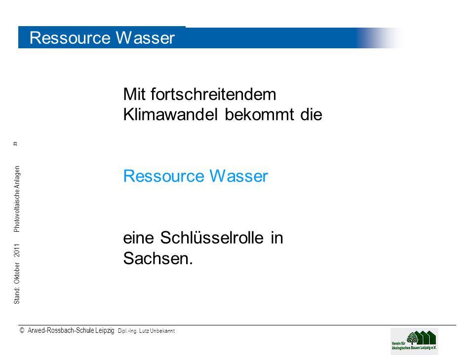 Stand: Oktober 2011 Photovoltaische Anlagen 23 © Arwed-Rossbach-Schule Leipzig Dipl.-Ing. Lutz Unbekannt 23 Ressource Wasser Mit fortschreitendem Klim