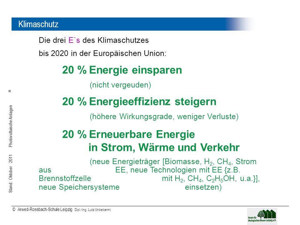Stand: Oktober 2011 Photovoltaische Anlagen 25 © Arwed-Rossbach-Schule Leipzig Dipl.-Ing. Lutz Unbekannt 25 Klimaschutz Die drei E`s des Klimaschutzes