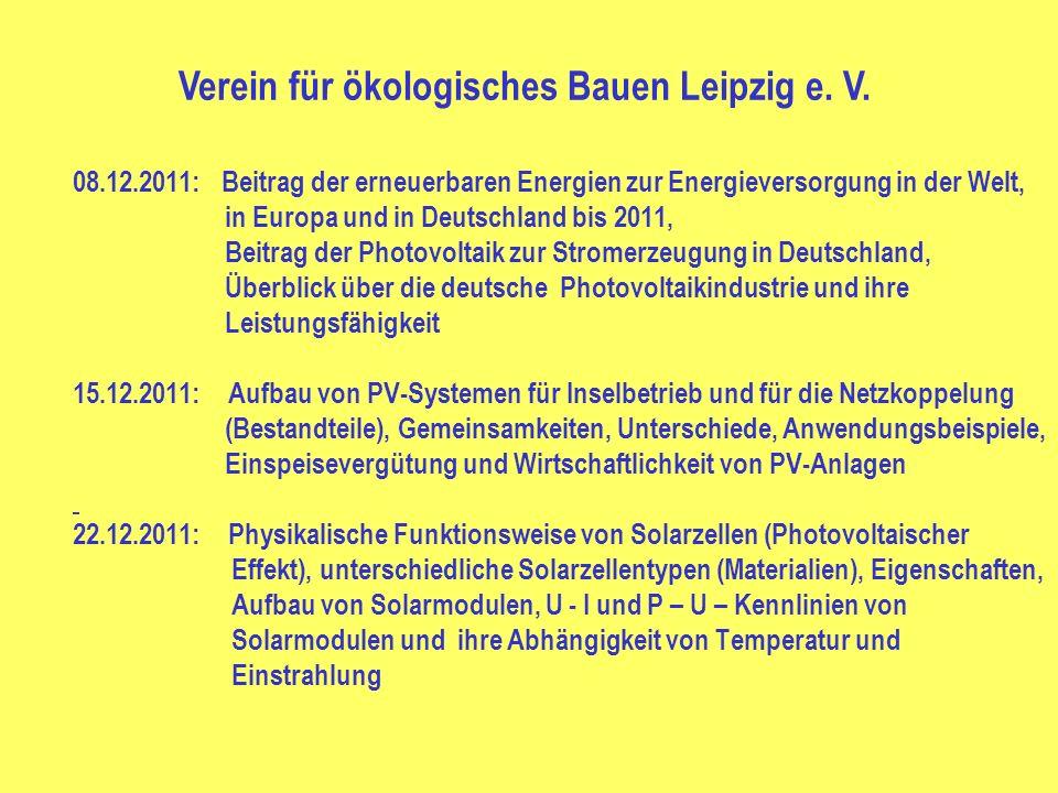 08.12.2011: Beitrag der erneuerbaren Energien zur Energieversorgung in der Welt, in Europa und in Deutschland bis 2011, Beitrag der Photovoltaik zur S