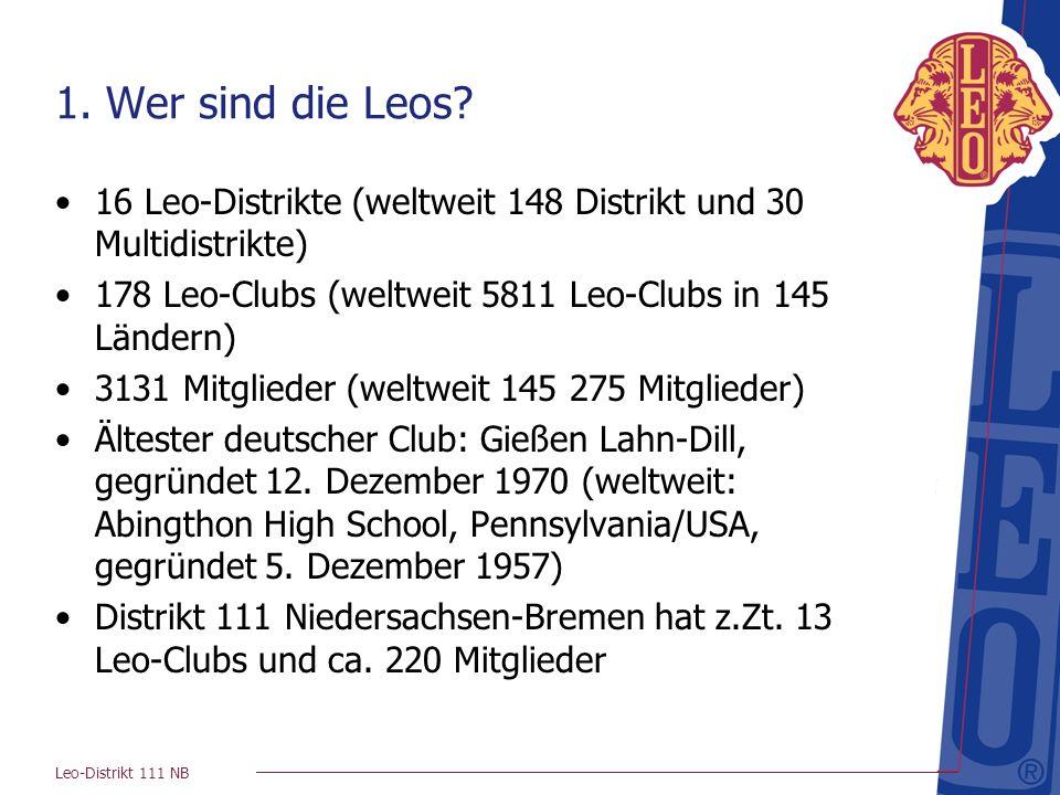 Leo-Distrikt 111 NB 1. Wer sind die Leos? 16 Leo-Distrikte (weltweit 148 Distrikt und 30 Multidistrikte) 178 Leo-Clubs (weltweit 5811 Leo-Clubs in 145