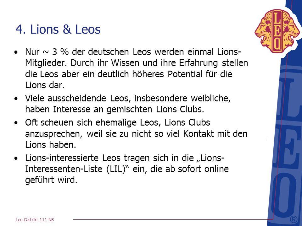 Leo-Distrikt 111 NB 4. Lions & Leos Nur ~ 3 % der deutschen Leos werden einmal Lions- Mitglieder. Durch ihr Wissen und ihre Erfahrung stellen die Leos