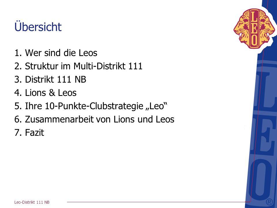 Leo-Distrikt 111 NB ca. 220 Mitglieder 12 Leo-Clubs plus Lingen gegr. 3. Distrikt 111 NB