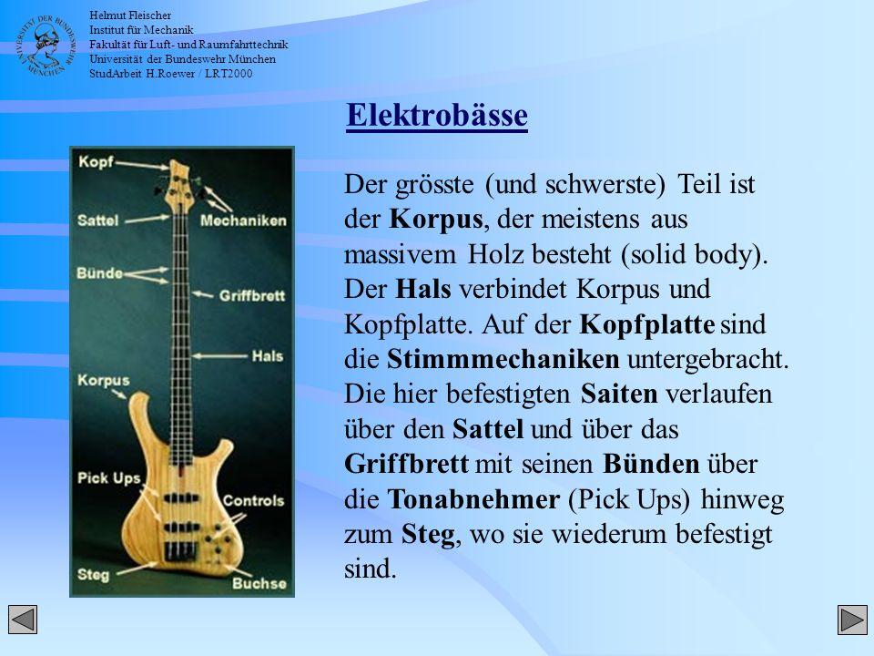 Helmut Fleischer Institut für Mechanik Fakultät für Luft- und Raumfahrttechnik Universität der Bundeswehr München StudArbeit H.Roewer / LRT2000 Ernie Ball Musicman Stingray 5 - Frequenzübersicht 42.3 Hz 42.3 Hz 147.5 Hz 282.8 Hz Instrument-Auswahl