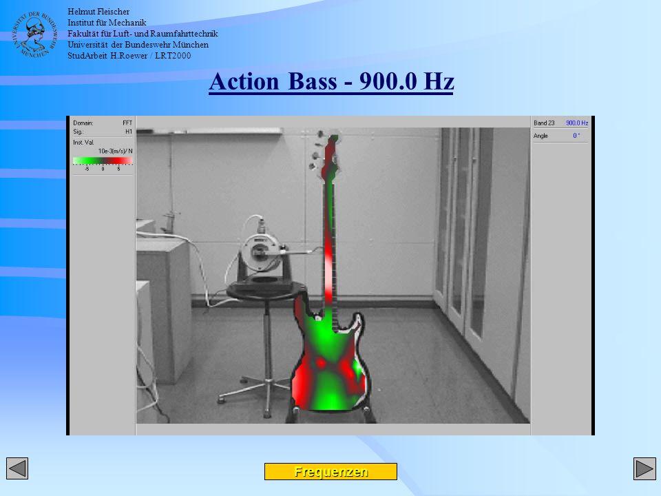 Helmut Fleischer Institut für Mechanik Fakultät für Luft- und Raumfahrttechnik Universität der Bundeswehr München StudArbeit H.Roewer / LRT2000 Action Bass - 900.0 Hz Frequenzen