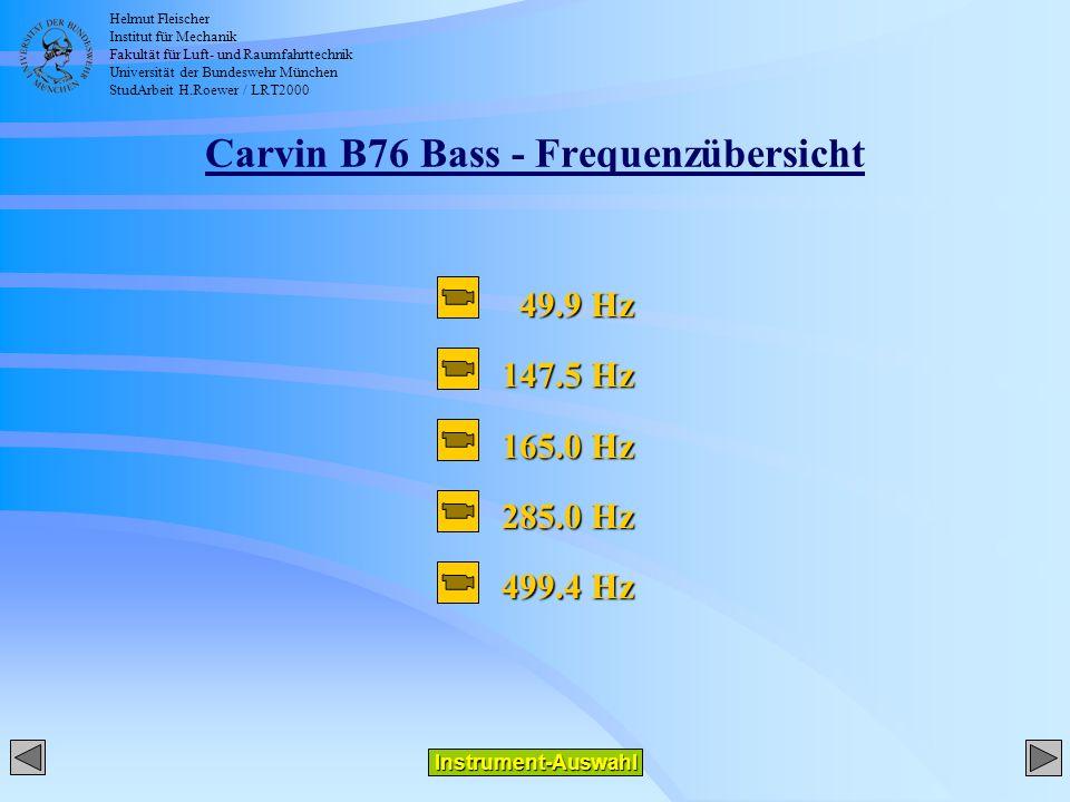 Helmut Fleischer Institut für Mechanik Fakultät für Luft- und Raumfahrttechnik Universität der Bundeswehr München StudArbeit H.Roewer / LRT2000 Carvin B76 Bass - Frequenzübersicht Instrument-Auswahl 49.9 Hz 49.9 Hz 147.5 Hz 165.0 Hz 285.0 Hz 499.4 Hz