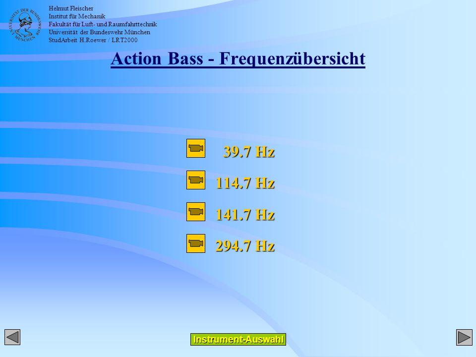 Helmut Fleischer Institut für Mechanik Fakultät für Luft- und Raumfahrttechnik Universität der Bundeswehr München StudArbeit H.Roewer / LRT2000 Action Bass - Frequenzübersicht 39.7 Hz 39.7 Hz 114.7 Hz 141.7 Hz 294.7 Hz Instrument-Auswahl