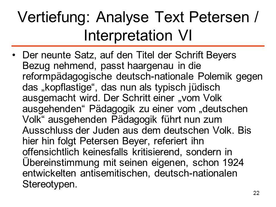 22 Vertiefung: Analyse Text Petersen / Interpretation VI Der neunte Satz, auf den Titel der Schrift Beyers Bezug nehmend, passt haargenau in die refor
