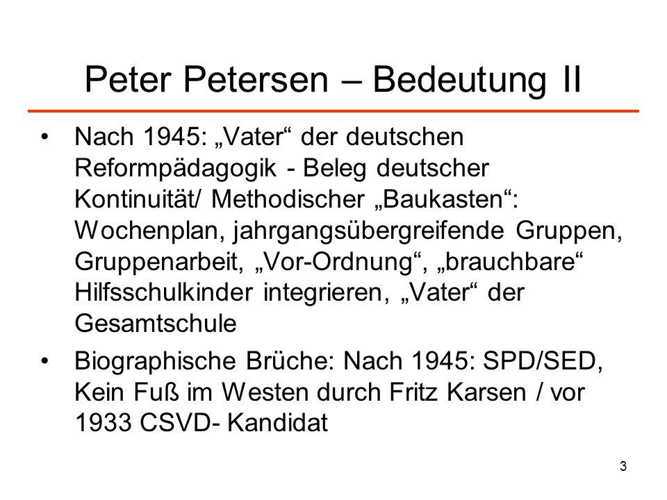 3 Peter Petersen – Bedeutung II Nach 1945: Vater der deutschen Reformpädagogik - Beleg deutscher Kontinuität/ Methodischer Baukasten: Wochenplan, jahr