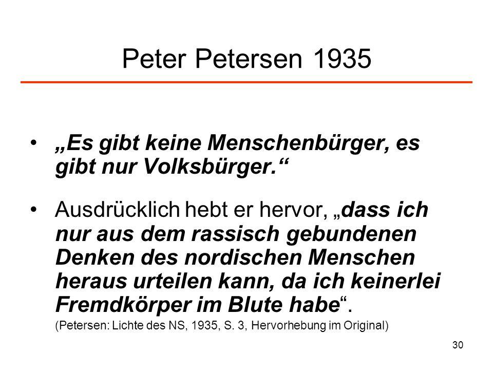 30 Peter Petersen 1935 Es gibt keine Menschenbürger, es gibt nur Volksbürger. Ausdrücklich hebt er hervor, dass ich nur aus dem rassisch gebundenen De