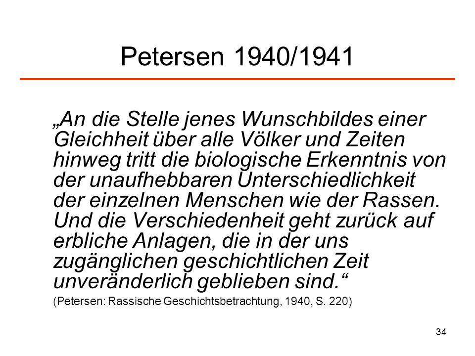 34 Petersen 1940/1941 An die Stelle jenes Wunschbildes einer Gleichheit über alle Völker und Zeiten hinweg tritt die biologische Erkenntnis von der un