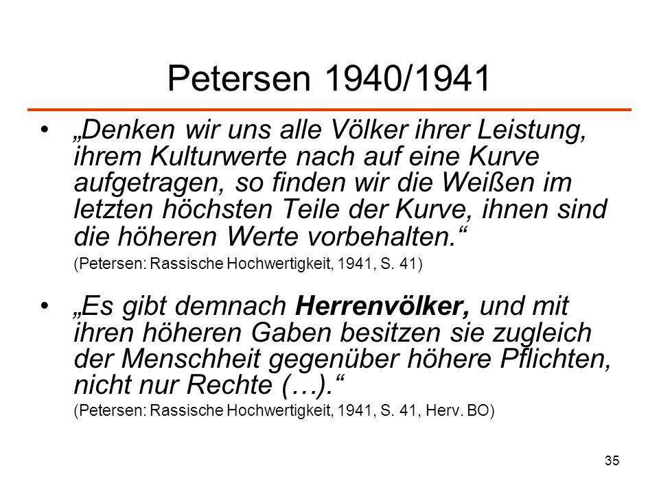 35 Petersen 1940/1941 Denken wir uns alle Völker ihrer Leistung, ihrem Kulturwerte nach auf eine Kurve aufgetragen, so finden wir die Weißen im letzte