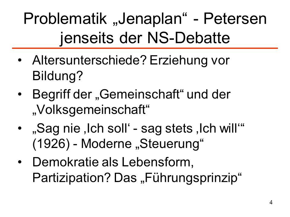 4 Problematik Jenaplan - Petersen jenseits der NS-Debatte Altersunterschiede? Erziehung vor Bildung? Begriff der Gemeinschaft und der Volksgemeinschaf