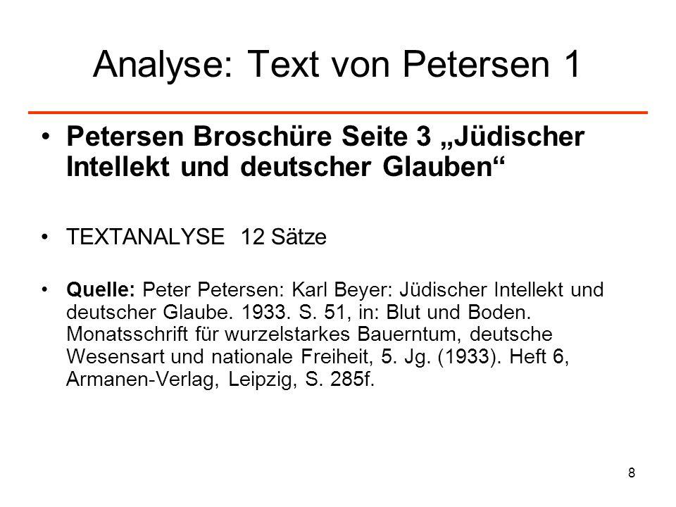 9 Analyse: Text von Petersen 2 Anmerkungen zum Text: Die Textform: Buchbesprechung/Rezension Der Text enthält 12 Sätze (für Textanalyse durchnummeriert) Die Zeitschrift Blut und Boden, in der diese Rezension erscheint, ist ein völkisches Organ 1932- 34.