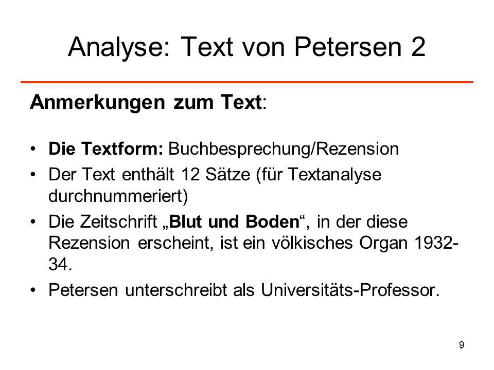 9 Analyse: Text von Petersen 2 Anmerkungen zum Text: Die Textform: Buchbesprechung/Rezension Der Text enthält 12 Sätze (für Textanalyse durchnummerier