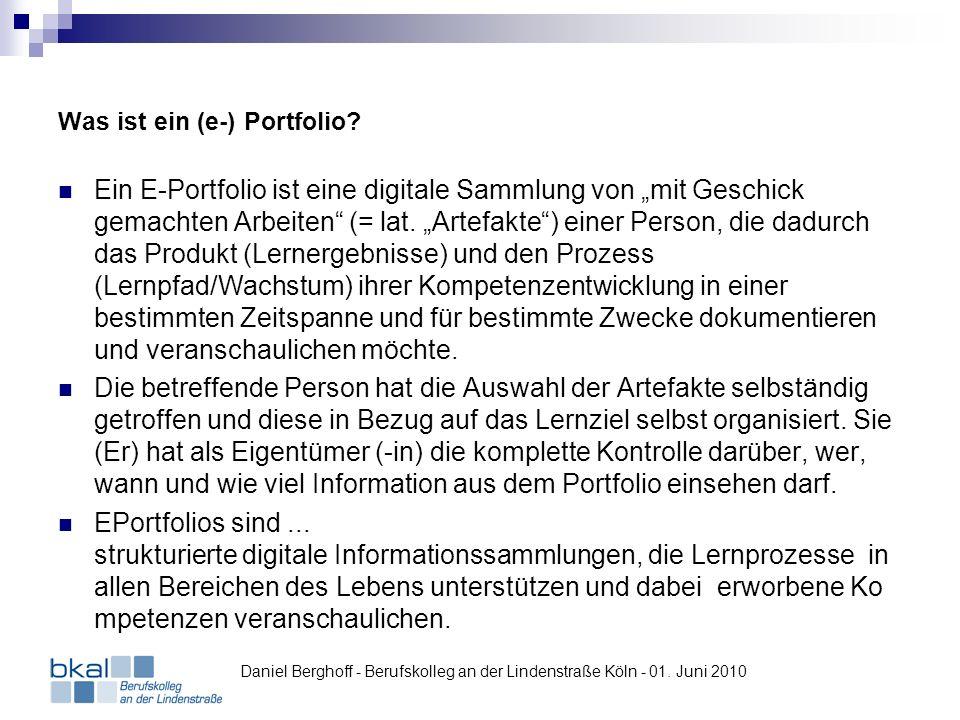 Was ist ein (e-) Portfolio? Ein E-Portfolio ist eine digitale Sammlung von mit Geschick gemachten Arbeiten (= lat. Artefakte) einer Person, die dadurc