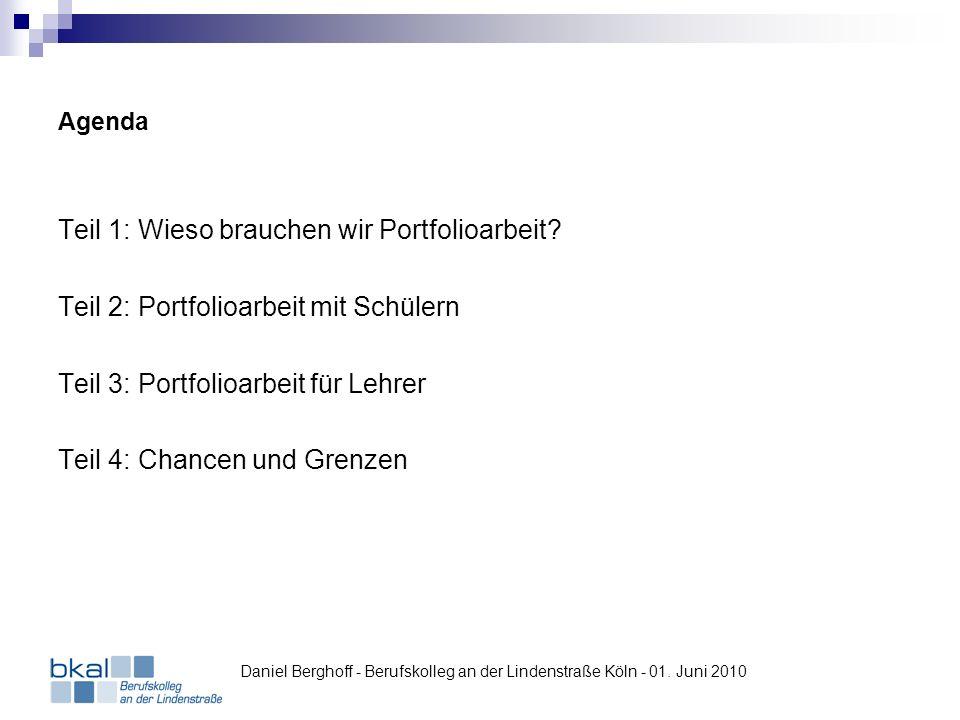 Einsatz von Mahara in der HH92 – Spinnweb-Diagramm Daniel Berghoff - Berufskolleg an der Lindenstraße Köln - 01.
