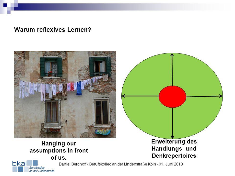 Warum reflexives Lernen? Hanging our assumptions in front of us. Erweiterung des Handlungs- und Denkrepertoires Daniel Berghoff - Berufskolleg an der