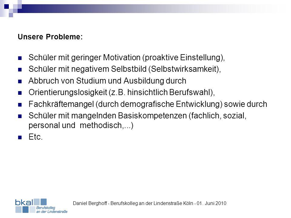 Unsere Probleme: Schüler mit geringer Motivation (proaktive Einstellung), Schüler mit negativem Selbstbild (Selbstwirksamkeit), Abbruch von Studium un