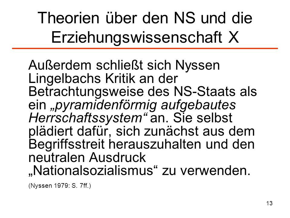 13 Theorien über den NS und die Erziehungswissenschaft X Außerdem schließt sich Nyssen Lingelbachs Kritik an der Betrachtungsweise des NS-Staats als e