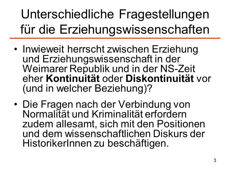 4 Theorien über den NS und die Erziehungswissenschaft I Zunächst geht es um die schon im NS-System tätigen Erziehungswissenschaftler wie Hermann Nohl, Theodor Wilhelm oder Alfred Baeumler, von denen sich die meisten nach 1945 - wenn sie sich überhaupt äußerten - als Anhänger derTotalitarismustheorie bezeichneten, wobei der Hauptaspekt auf der Gleichsetzung des NS- Staates mit dem Kommunismus und (nach 1949) mit der DDR lag.